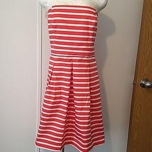 Strapless red&white stripes dress